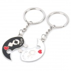 Female/Male Symbol Style Chinese Yin/Yang Shaped Couple Keychains w/ Red Hearts (Pair)