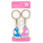 Heart Pattern Footprint Style Zinc Alloy Keychain - Rose + Bleu (Paire)