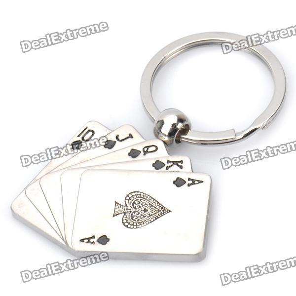 Rotatable Poker Card Shaped Keychain - Silver barrow tzs1 a02 yklzs1 t01 g1 4 white black silver gold acrylic water cooling plug coins can be used to twist the