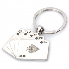 Rotatable Poker Card Shaped Keychain - Silver