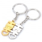 Chinese Character Xi (Happy) Shaped Keychain with Smile Expression - Silver + Gold (Pair)