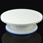 Revolving ABS Cake Stand for Caking Decoration - White + Blue (Medium)