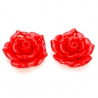 DIY Resin Rose Flower Cabochons for Cell Phone Decoration / Jewelry Making - Red (L-Size / 2-Piece)