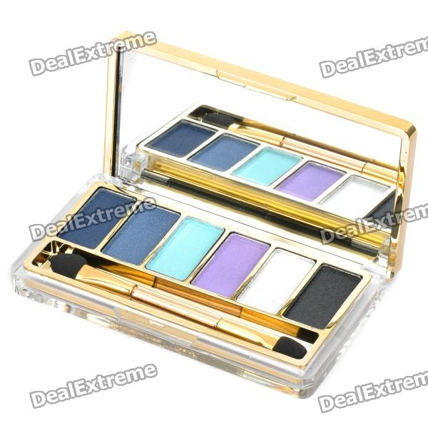 Cosmetic Makeup 6-Color Eye Shadow Kit with Smudger - Golden cosmetic makeup 24 color eye shadow 3 color grooming powder 3 color blusher palette black