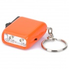 2-LED White Light Hand-Crank Dynamo Flashlight with Keychain - Random Color