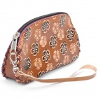 Stylish Flower Pattern PU Leather Cosmetic Handbag (Random Color)