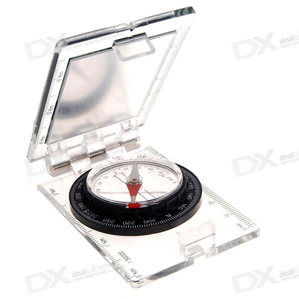 Lensatic Compass with View Angle Scales and Mirror