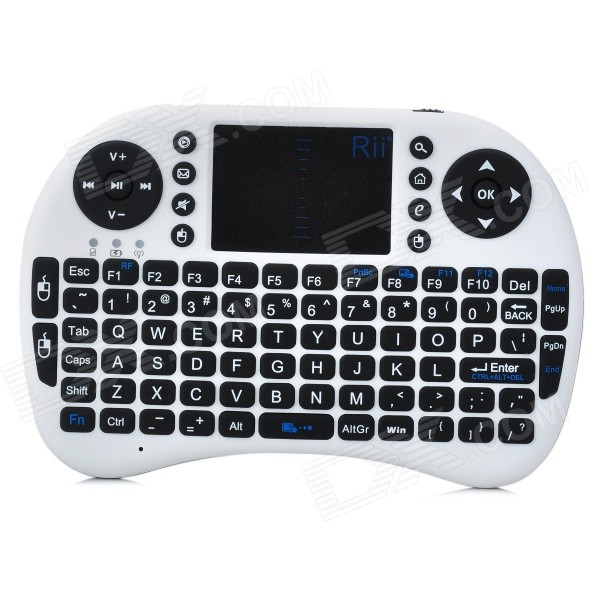 Genuine Rii Mini I8 Mini Wireless 92-Key QWERTY Keyboard Mouse Touchpad with USB ReceiverWireless Keyboards<br>Form  ColorWhiteMaterial:Tracking MethodTouch PadPowered ByUSBSupports SystemLinuxPacking List<br>