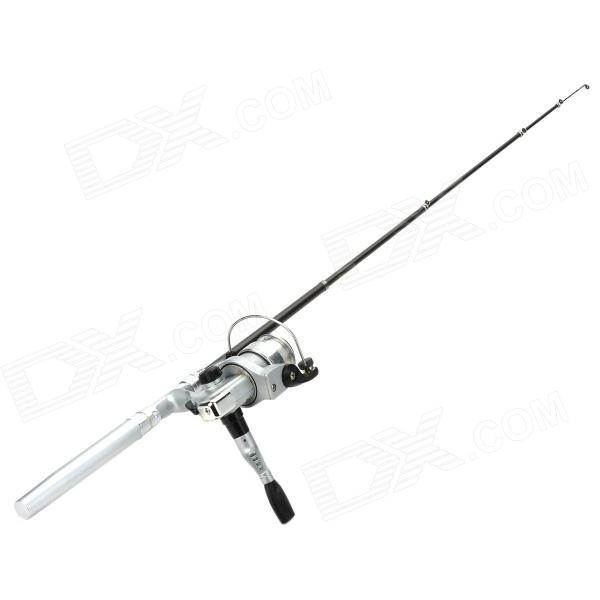 New Pocket Pen Style Fishing Rod and Reel Kit - Silver (1-Meter Extended)