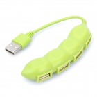 Stylish Pea Style 480Mbps USB 2.0 4-Port HUB - Green (6.5cm-Length)