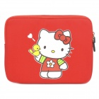 Cute Hello Kitty Pattern Dual Zippered Protective Soft Pouch Bag for iPad / iPad 2 - Red