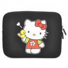 Cute Hello Kitty Pattern Dual Zippered Protective Soft Pouch Bag for iPad / iPad 2 - Black