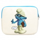 Cute The Smurfs Brainy Pattern Dual Zippered Protective Soft Pouch Bag for iPad / iPad 2
