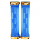 Genuine AEST Bike Bicycle Rubber Handle Bar Grip - Blue + Gold (Pair)