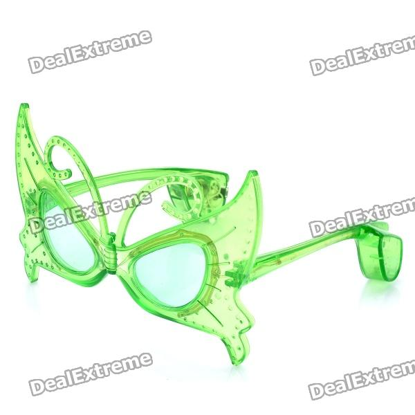 Stylish 10-LED 3-Mode Plastic Butterfly Glasses - Green (3 x LR44)