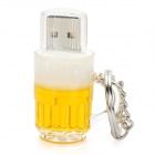 Beer Mug Style USB 2.0 Flash Jump Drive with Key Ring - Yellow (8GB)