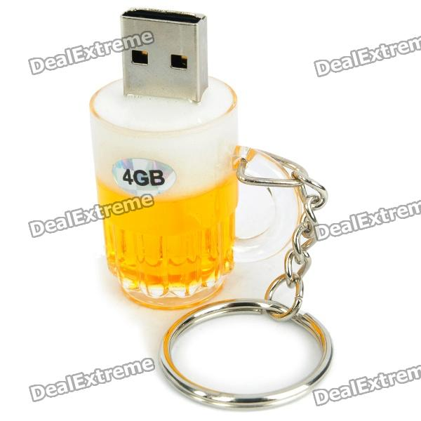 Beer Mug Style USB 2.0 Flash Jump Drive with Key Ring - Yellow (4GB)