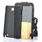Protective PU Leather Case + Mesh PP Back Case + Screen Guard + USB Data Cable for Samsung i9220