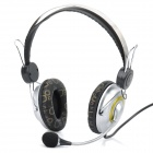 Fashion Headphone Headset with Microphone & Volume Control - Silver + Black