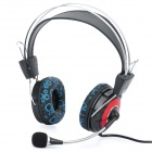 Fashion Headphone Headset with Microphone & Volume Control - Red + Black + Blue
