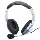 Fashion Headphone Headset with Microphone & Volume Control - Black + Grey + Silver