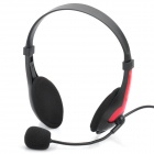 Fashion Headphone Headset with Microphone & Volume Control - Black + Red
