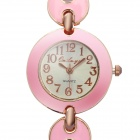 Stylish Bracelet Style Quartz Wrist Watch - Pink + Golden (1 x 377)