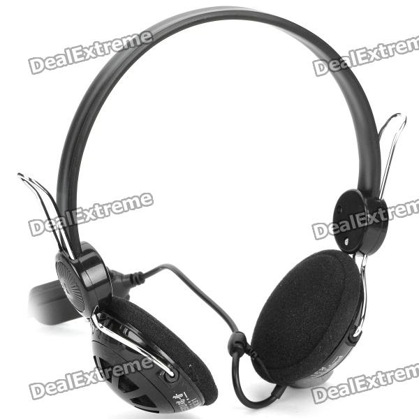 Stylish Headphone Headset with Microphone - Black (3.5mm Jack)