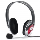 Fashion Headphone Headset with Microphone & Volume Control - Red + Black + Silver