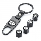 Car Tire Valve Caps with Mini Wrench & Keychain for Infiniti (4-Piece Pack)