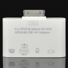 HDMI / USB / AV Adapter Set for iPad / iPod Touch / iPhone 4 / 4S - White