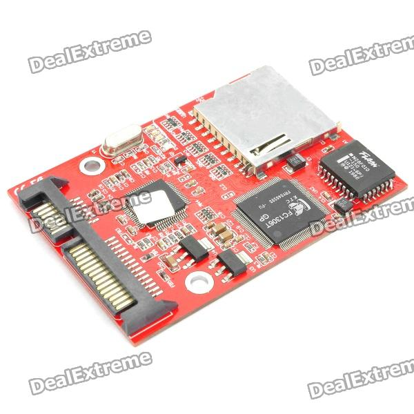 SDHC/SD Card to SATA Solid State Hard Drive sd memory card to ide 44 pin hard disk adapter creates a ssd solid state drive