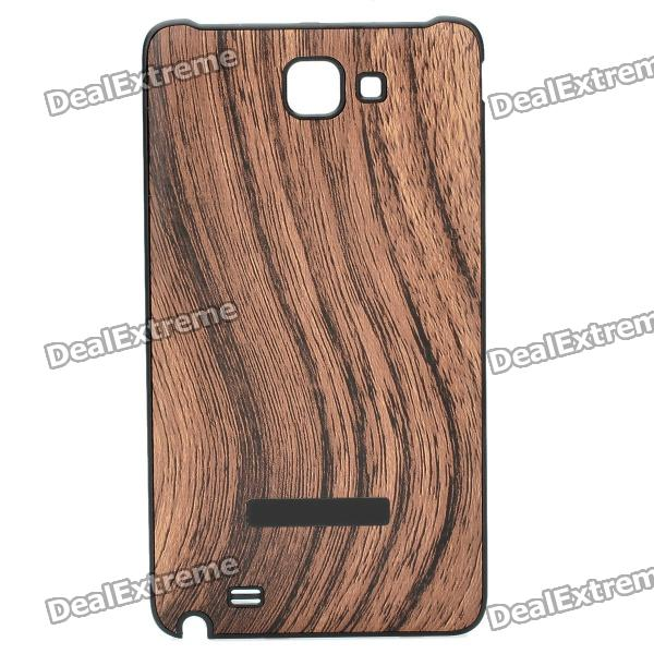 Protective Wood Grain Style Plastic Back Case for Samsung i9220 Galaxy Note - Yellow protective abs back case w back clip holder for samsung galaxy note i9220 gt n7000 black