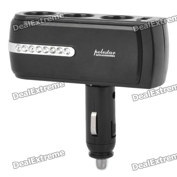 Triple Car Cigarette Sockets Power Adapter with USB Power Port - Black (DC 12~24V)