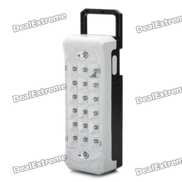 Rechargeable 20-LED 2-Mode White Light Emergency Lamp with Hook - White