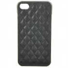 Protective ABS + Leather Back Case for iPhone 4 / 4S - Black
