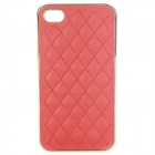 Protective ABS + Leather Back Case for iPhone 4 / 4S - Red