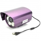 "Water Resistant 1/3"" 1.3MP Sony CCD Security Camera w/ 12-LED Illumination Light - Purple"