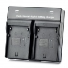 Portable Dual Slots Battery Charger for Canon BP-911 / BP-915 / BP-930 - Black (2-round-pin plug)
