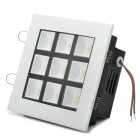 Square Shaped 9W 855LM 6000K White 9-LED Light Lamp (AC 89~265V)