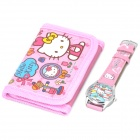 Stylish Cute Hello Kitty Style Wrist Watch + Folding Wallet Kit - Pink (1 x AG4)