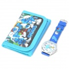 Stylish Cute The Smurfs Style Wrist Watch + Folding Wallet Kit - Blue (1 x AG4)