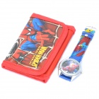 Stylish Cute Spider-Man Style Wrist Watch + Folding Wallet Kit - Red (1 x AG4)