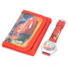 Stylish Cute Cars Style Wrist Watch + Folding Wallet Kit - Red (1 x AG4)