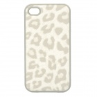 Protective Silicone + Leather Back Case for Iphone 4 / 4S - White + Grey
