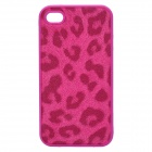 Protective Silicone + Leather Back Case for Iphone 4 / 4S - Deep Pink
