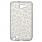 Leopard Style Protective Back Case for Samsung i9220 - White + Grey