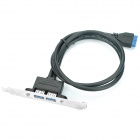 Panel Mount Motherboard 20 Pin Male to Dual USB 3.0 Female Adapter Cable (40cm-Cable Length)