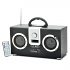 Rechargeable Dual Speakers MP3 Player Music Speaker with FM / SD / USB - Black
