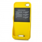 External 2200mAh Emergency Power Battery Case for iPhone 4 / 4S - Yellow + Black
